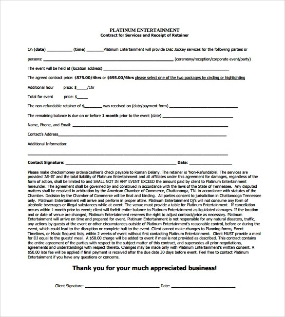 16 Sample Best DJ Contract Templates to Download Sample Templates - blank contract template