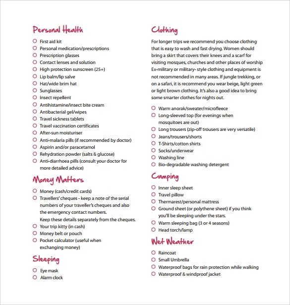 Packing Checklist Template Packing List Template Free Templates