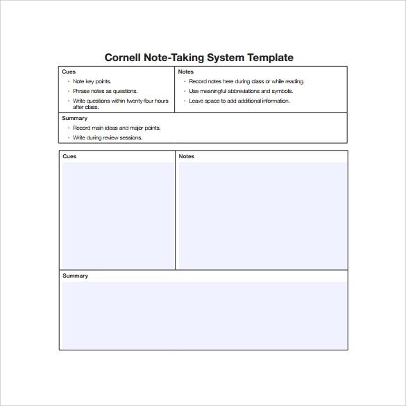 16 Sample Editable Cornell Note Templates to Download Sample Templates