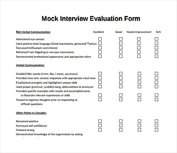 13 Sample Interview Evaluation Form Templates to Downoad Sample - Sample Interview Evaluation