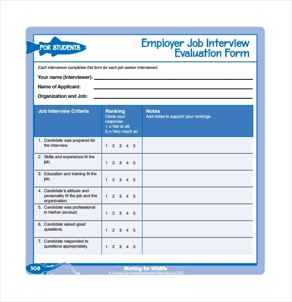 13 Sample Interview Evaluation Form Templates to Downoad Sample - free assessment forms
