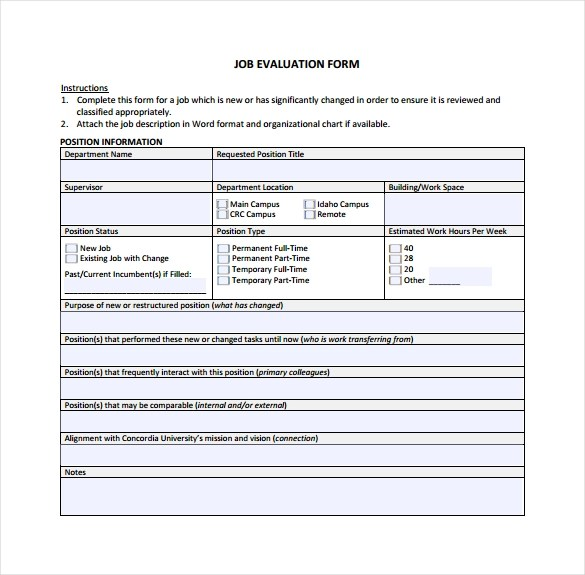 Sample Job Performance Evaluation Form The Ability To Construct - job performance evaluation form templates