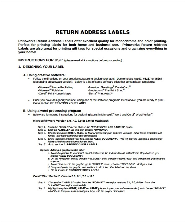 8 Sample Address Label Templates Sample Templates - Sample Return Address Label
