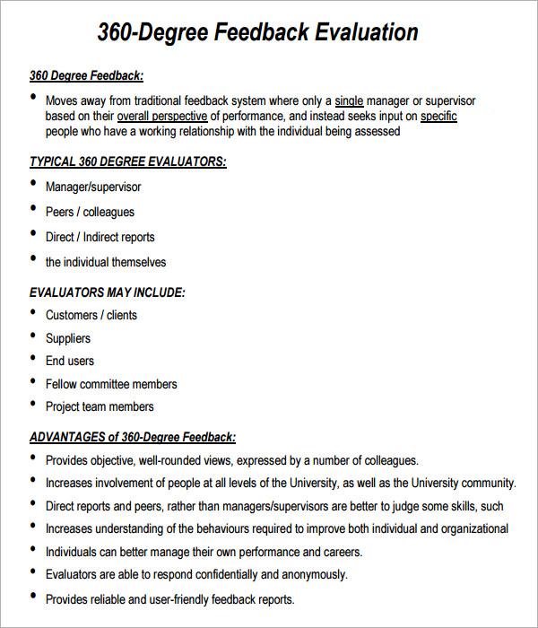Sample 360 Degree Performance Evaluation Form | Marketing