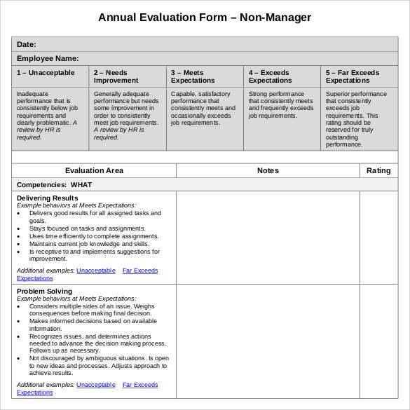 41+ Sample Employee Evaluation Forms to Download Sample Templates - employee evaluation forms sample