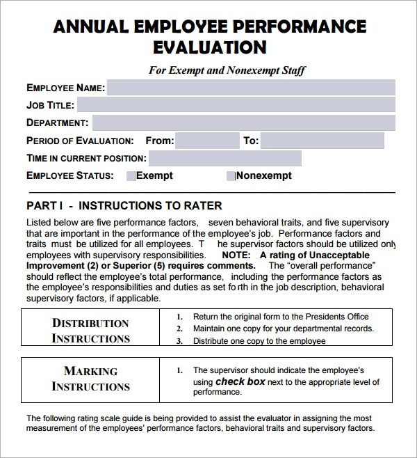 annual evaluation form - Funfpandroid