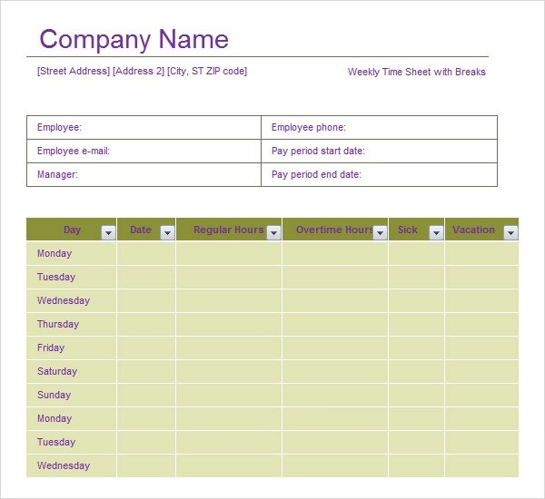 Superior Volunteer Timesheet Template