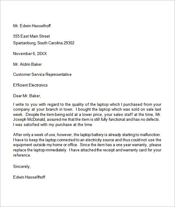 17 Sample Complaint Letters to Download Sample Templates - complaint letter sample