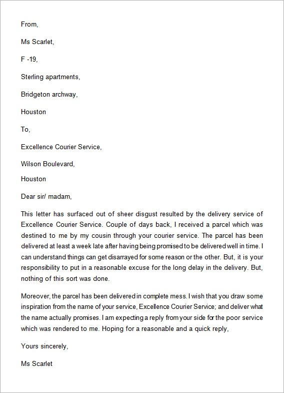An Example Complaint Letter Scribendi Complaint Letter Format For Poor Service Letter Format 2017