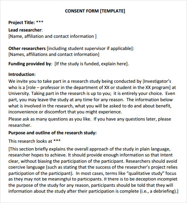 sample consent form templates - research consent form template