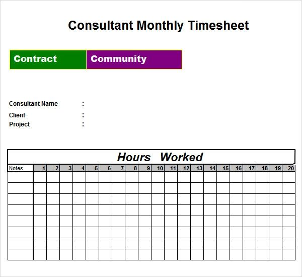 monthly excel timesheet