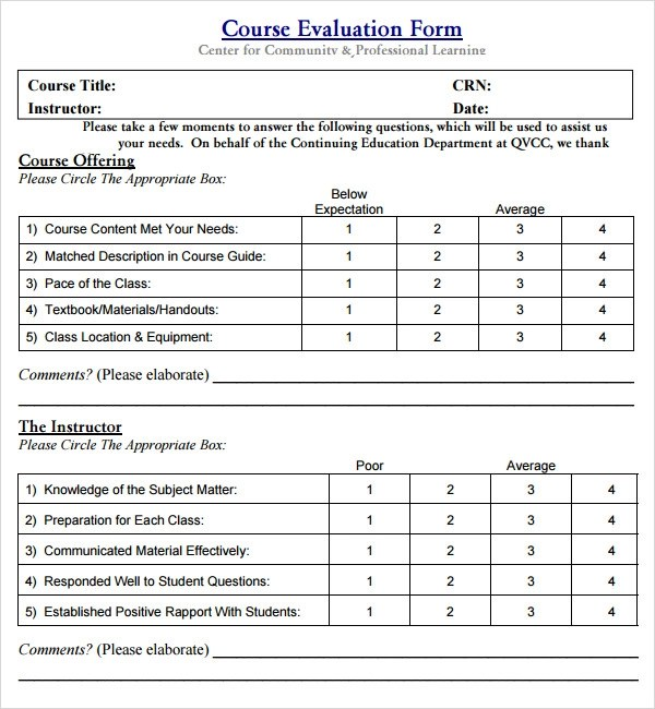 Sample Course Evaluation Form 29 images of training course - sample course evaluation form