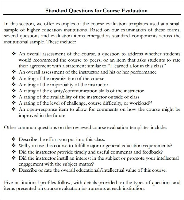 Course Evaluation - 4+ Free Download for PDF - class evaluation template
