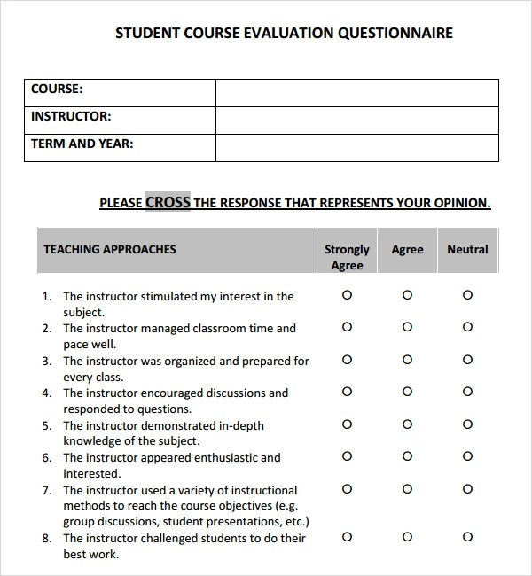 Course Evaluation - 4+ Free Download for PDF - evaluation template