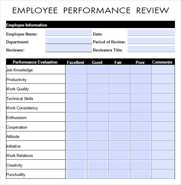 employee performance review forms templates - performance review template