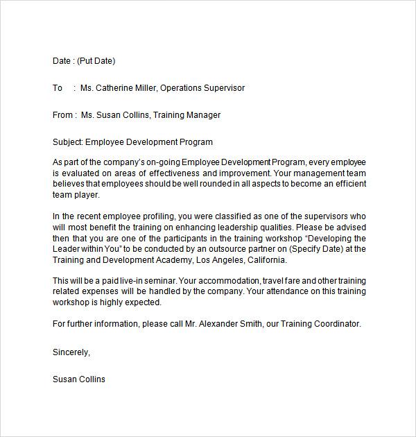 sample recommendation letter for employee training