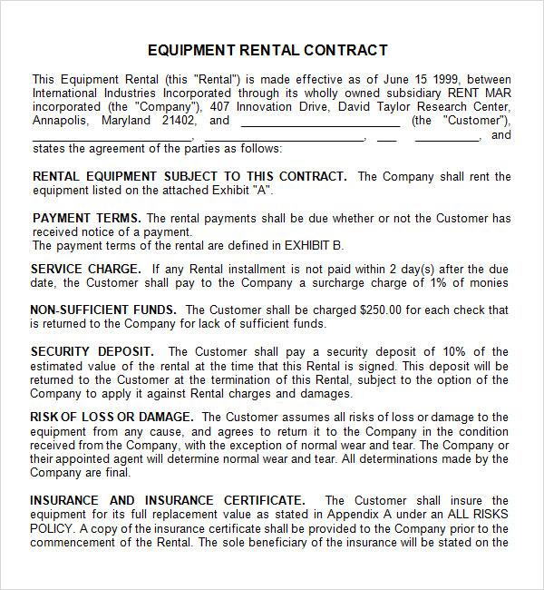 equipment rental agreement form template