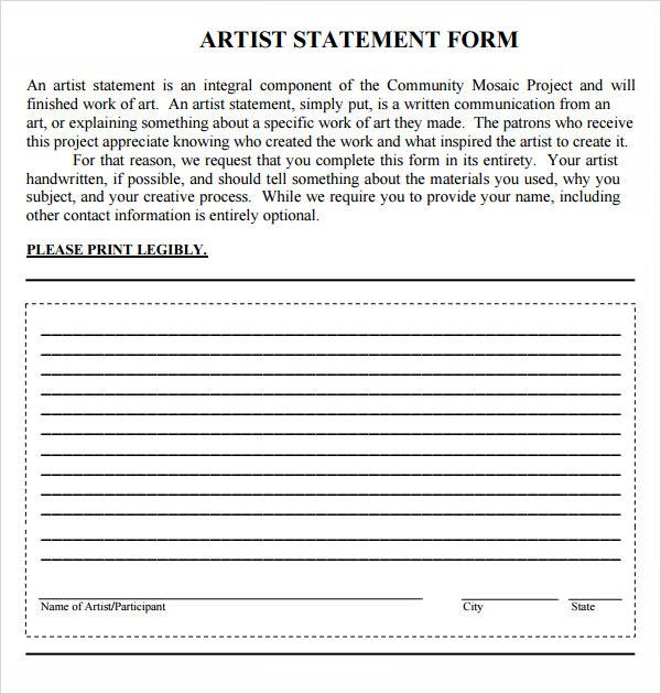 Sample Artist Statement - 9+ Documents in PDF, Word