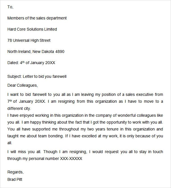 Sample Employee Farewell Letter – Letter of Resignation to Coworkers