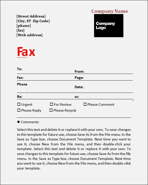 6 Printable Fax Cover Sheet Templates  Samples Sample Templates