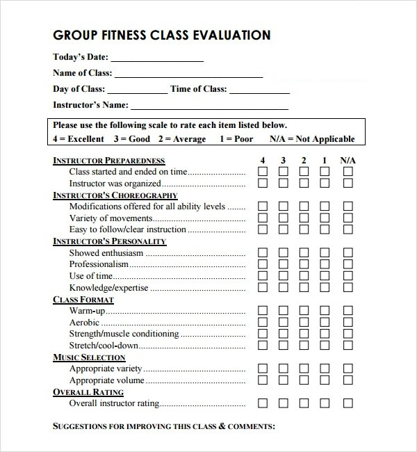 Class Evaluation Template   Resume Template