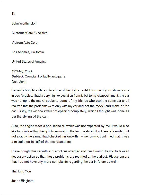 formal complaint letter templates