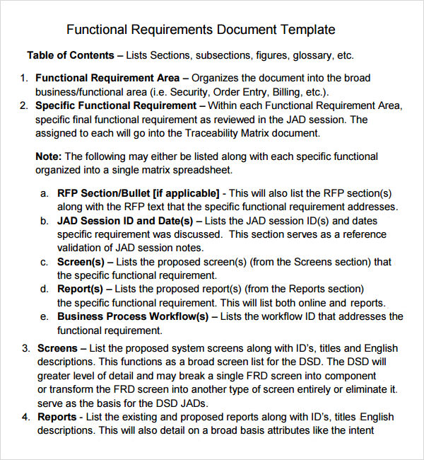 sample business requirements template - business requirement documents