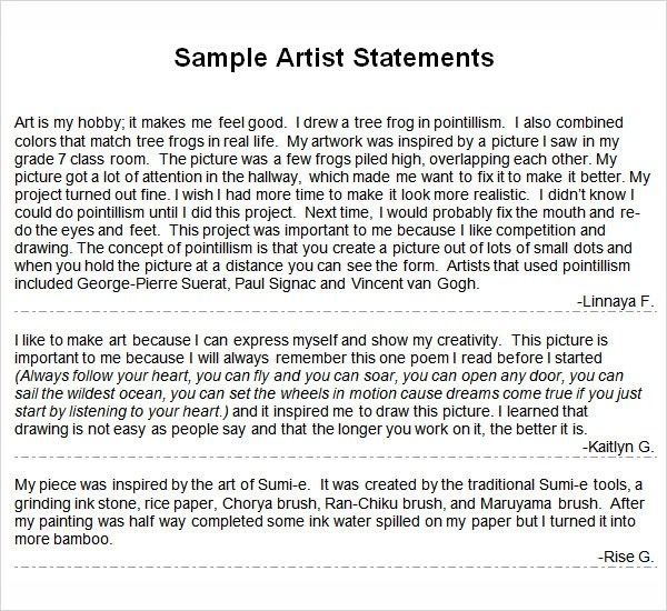 Best Cover Letter Template 2018 » artist statements examples writing - sample artist statement