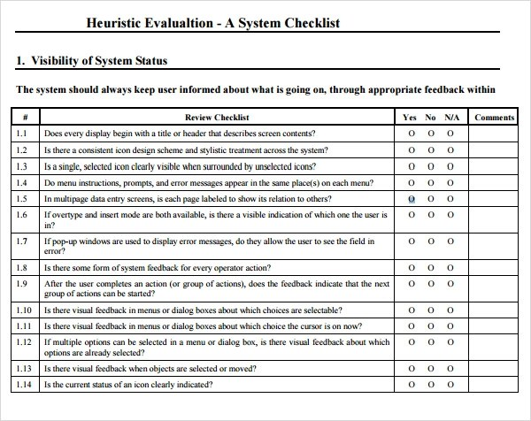 Heuristic Evaluation Template Heuristic Evaluation Week Ux