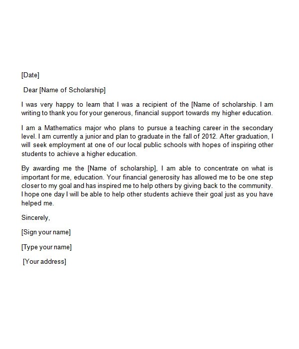 thank you letter for scholarship sponsor sample pdf sample thank – Scholarship Thank You Letters