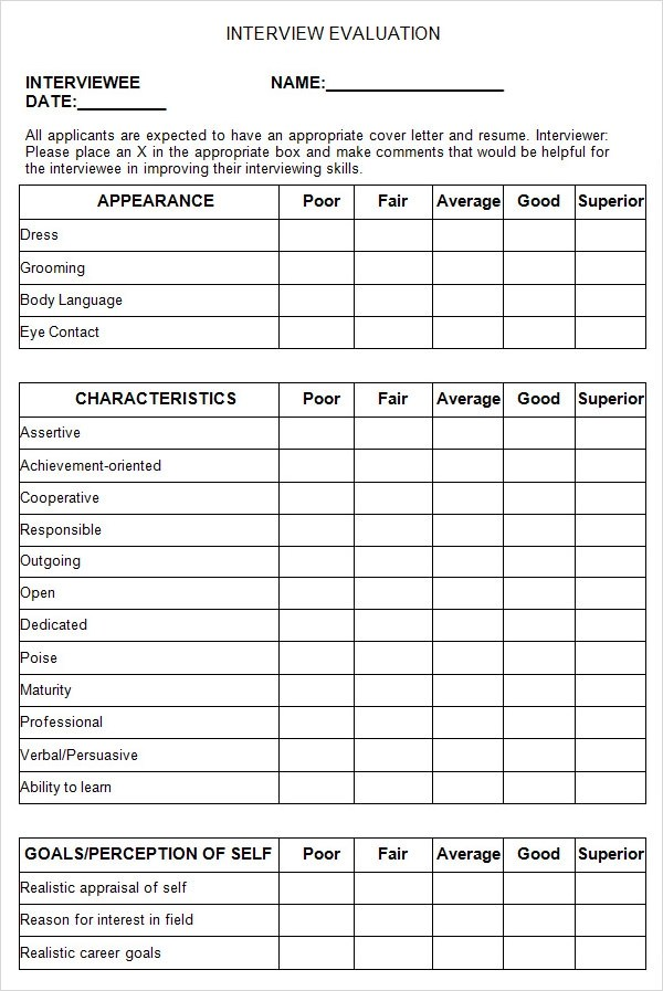 13 Sample Interview Evaluation Form Templates to Downoad Sample