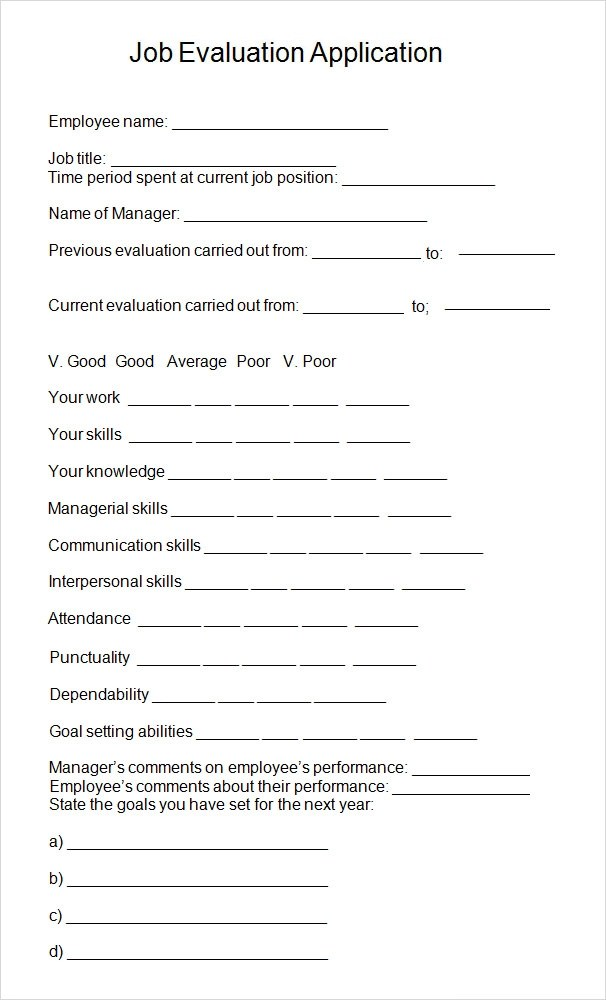 Sample Format Of Employee Evaluation Form – Sample Manager Evaluation