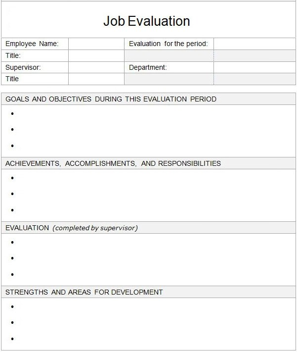 Sample Job Evaluation - 9+ Documents in Word, PDF - evaluation form in word