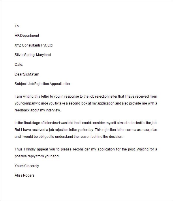 Free Sample Letters Letter For Collaboration Job Rejection Letter 6 Free Doc Download