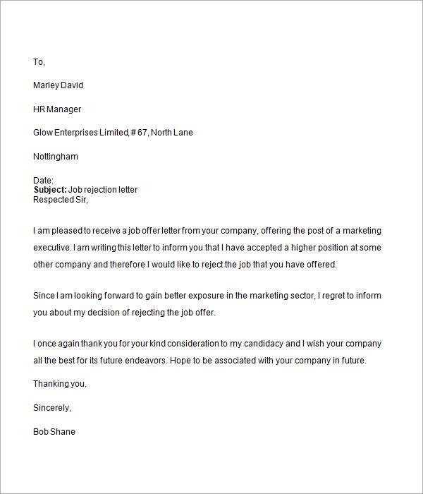 Job Rejection Letter - 6+ Free Doc Download