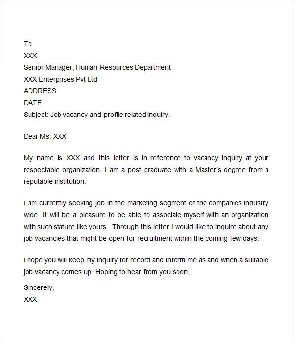 job inquiry letter - Onwebioinnovate - Format Of Letter Of Enquiry