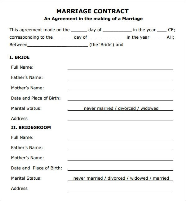 Marriage Contract Template - 14+ Download Free Documents in PDF, Word