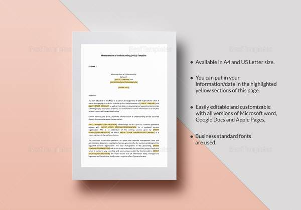 16 Sample Memorandum of Understanding Templates to Download Sample - microsoft word memorandum template