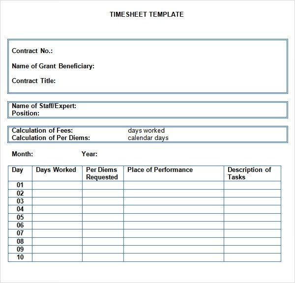 Sample Time Sheet - 7+ Documents In PDF, Doc, Excel