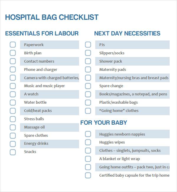 Newborn Checklist Sample - 8+ Documents in PDF - newborn checklist