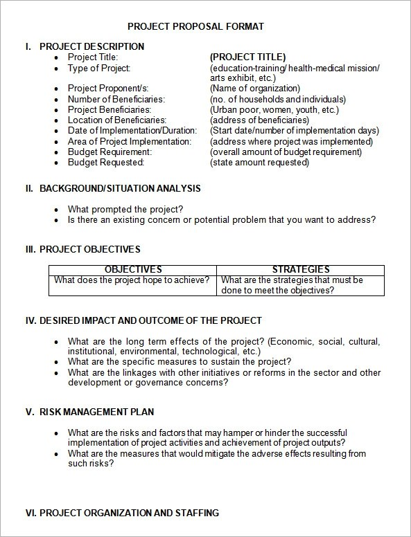 Proposal Format Free Download Pdf Format Business Proposal - project proposal