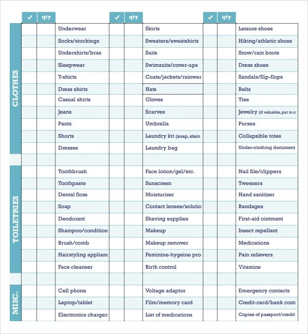 Packing Checklist Template - 16+ Download Free Documents in PDF