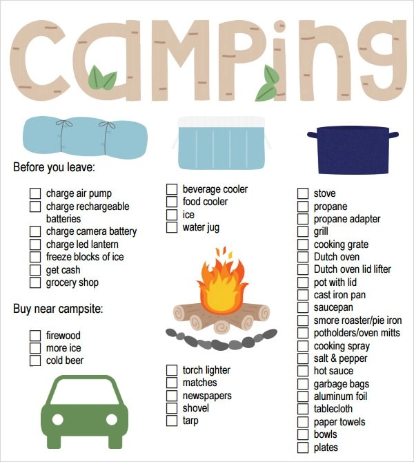 8+ Camping Checklist Samples Sample Templates - food list samples