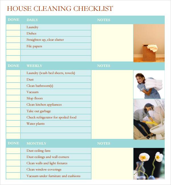 7+ House Cleaning Checklist Templates \u2013 PDF, DOC Sample Templates - housekeeper cleaning checklist