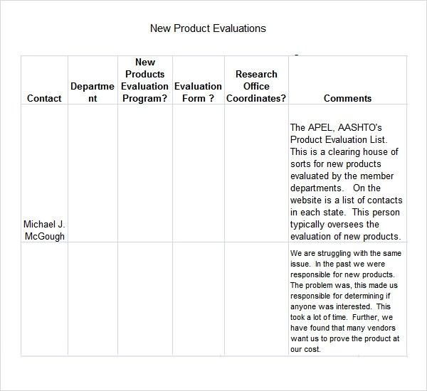 7 Sample Product Evaluation Templates to Download Sample Templates