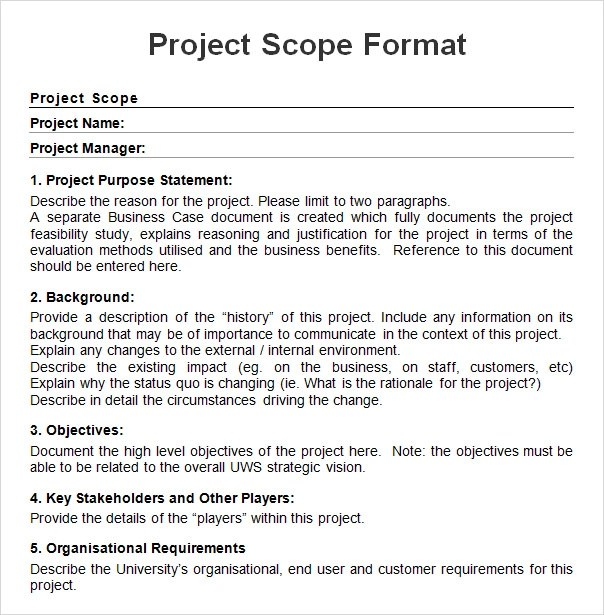 Project-Scope-Sample-Formatjpg (604×615) PROJECT CHARTER - free construction project management templates