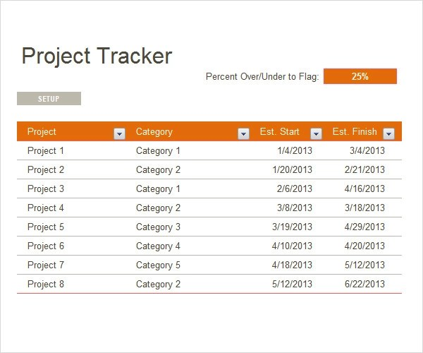 Project Tracking Template - 6 Free Download for PDF , Doc
