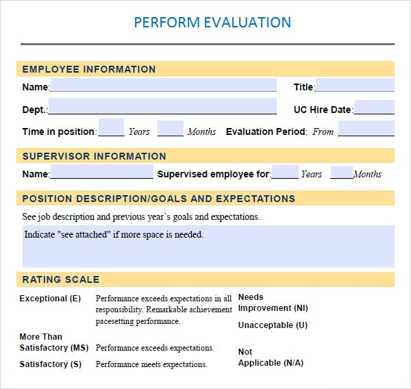 10 Sample Performance Evaluation Templates to Download Sample - performance appraisal template word