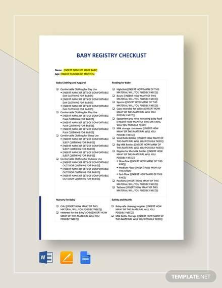 Sample Baby Registry Checklist \u2013 9+ PDF, Word Format