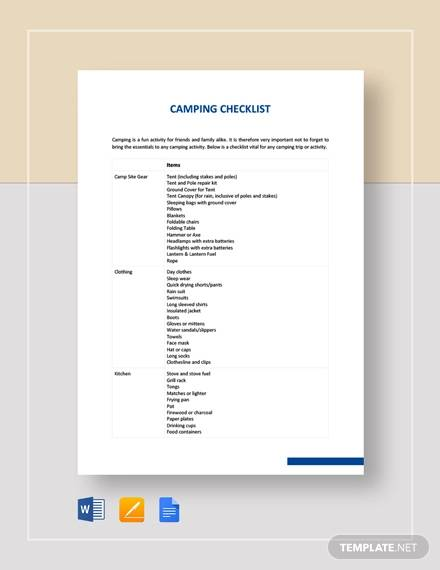 Sample Camping Checklist - 8+ Documents in Word, Excel, PDF